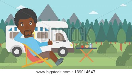 An african-american man sitting in a folding chair and giving thumb up on the background of camper van. Man enjoying vacation in camper van. Vector flat design illustration. Horizontal layout.