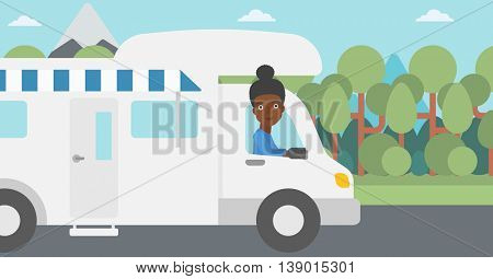 An african-american woman driving a motor home in the forest. Woman travelling by camper van. Vector flat design illustration. Horizontal layout.
