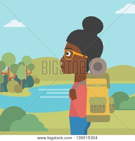 An african-american woman with backpack enjoying the view of landscape with mountains and lake. Vector flat design illustration. Square layout.