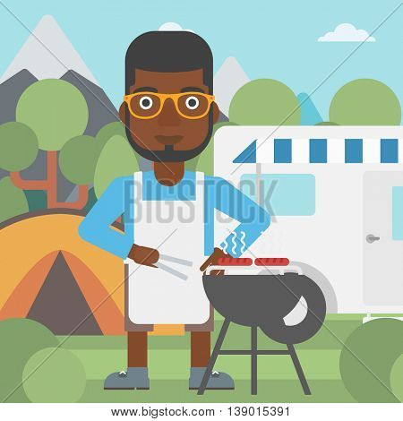 An african-american man cooking meat on barbecue on the background of camper van. Man travelling by camper van and having barbecue party. Vector flat design illustration. Square layout.