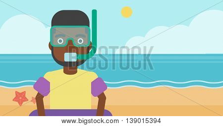 An african-american man in mask, tube and rubber ring standing on the background of beach and sea. Man wearing snorkeling equipment on the beach. Vector flat design illustration. Horizontal layout.