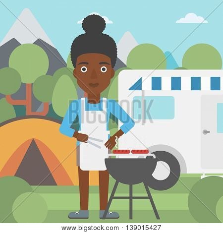 An african-american woman cooking meat on barbecue on the background of camper van. Woman travelling by camper van and having barbecue party. Vector flat design illustration. Square layout.