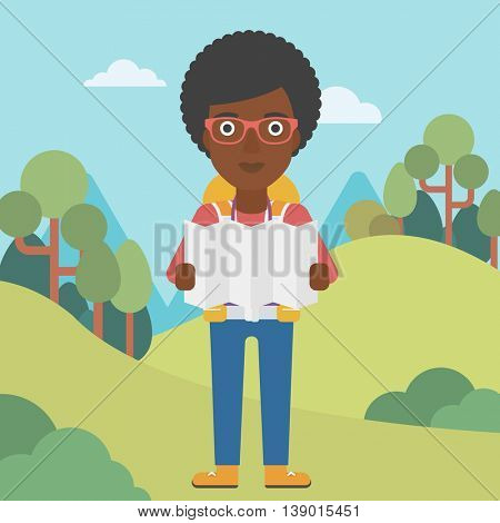 Traveler with backpack looking at map. An african-american woman travelling in mountains. Traveler searching right direction on map. Vector flat design illustration. Square layout.