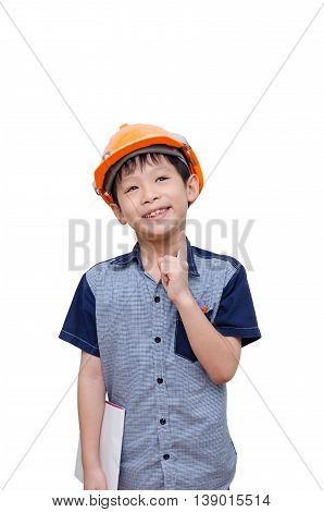 Asian boy with helmet thinking over white