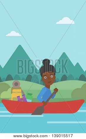 An african-american woman riding in a kayak on the river with a skull in hands and some tourist equipment behind her. Woman traveling by kayak. Vector flat design illustration. Vertical layout.
