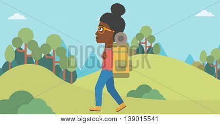 An african-american woman hiking in mountains. Female traveler with backpack mountaineering. Hiking woman with backpack walking outdoor. Vector flat design illustration. Horizontal layout.
