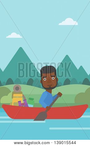 An african-american man riding in a kayak on the river with a skull in hands and some tourist equipment behind him. Man traveling by kayak. Vector flat design illustration. Vertical layout.
