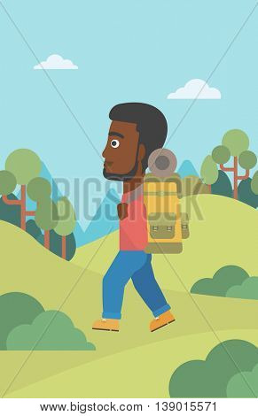 An african-american man hiking in mountains. Traveler with backpack mountaineering. Hiking man with backpack walking outdoor. Vector flat design illustration. Vertical layout.