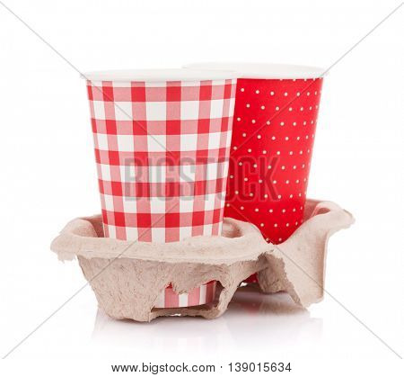 Two paper cups with takeaway drinks. Isolated on white background