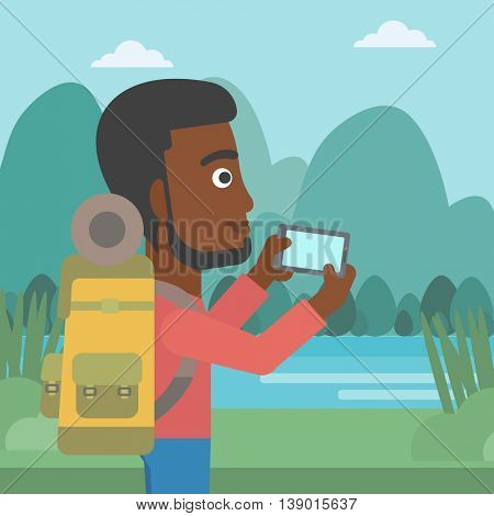 An african-american man taking photo of landscape with mountains. An african-american man with backpack taking photo with his cellphone. Vector flat design illustration. Square layout.