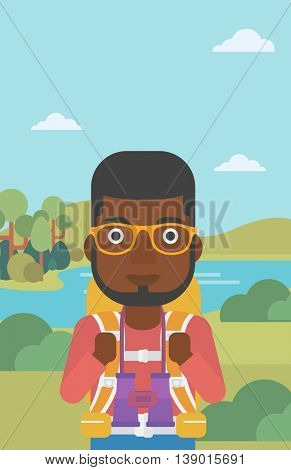 An african-american man walking in the mountains. Male traveler with backpack and binoculars. Backpacker hiking in mountains. Vector flat design illustration. Vertical layout.