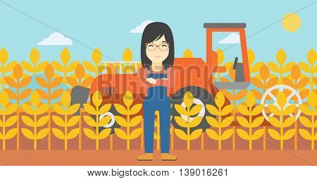 An asian female farmer standing on the background of combine harvesting wheat. Young farmer working on a wheat field. Vector flat design illustration. Horizontal layout.