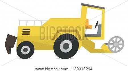 Modern combine harvester vector flat design illustration isolated on white background.