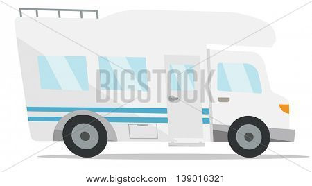 Modern camper van vector flat design illustration isolated on white background.