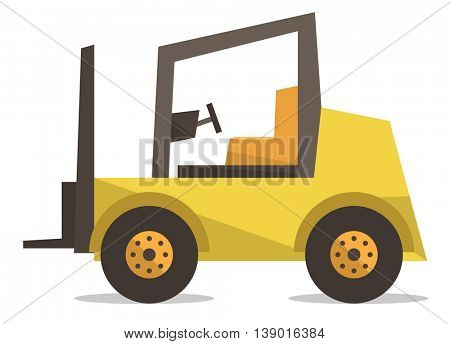 Yellow forklift truck vector flat design illustration isolated on white background.