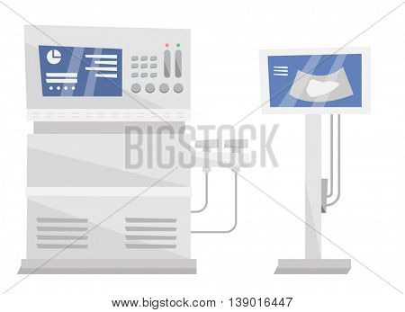 Medical ultrasound equipment vector flat design illustration isolated on white background.
