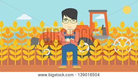 An asian farmer standing on the background of combine harvesting wheat. Young farmer working on a wheat field. Vector flat design illustration. Horizontal layout.