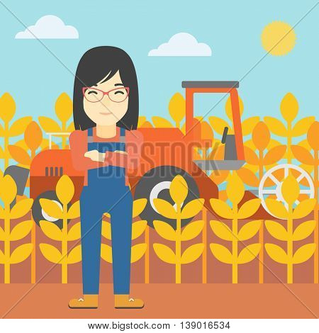 An asian female farmer standing on the background of combine harvesting wheat. Young farmer working on a wheat field. Vector flat design illustration. Square layout.