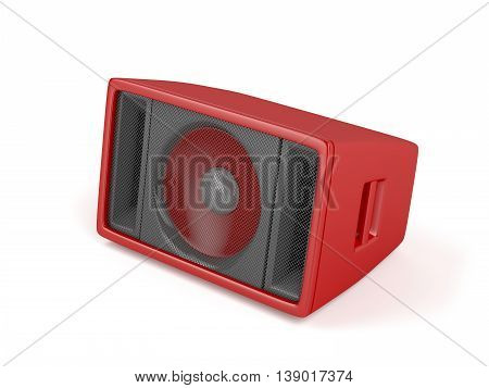 Red stage speaker on white background, 3D illustration