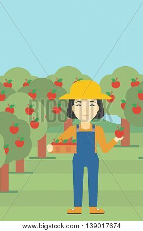 An asian female farmer holding a box with apples in one hand and an apple in another on a background of garden with trees. Farmer collecting apples. Vector flat design illustration. Vertical layout.