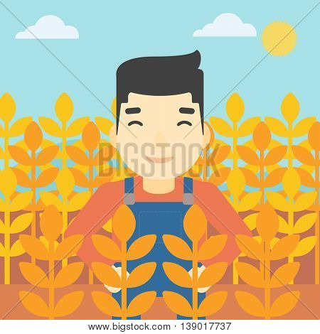 An asian farmer standing in a wheat field. Young farmer working in a weat field. Vector flat design illustration. Square layout.