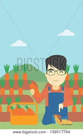 An asian farmer collecting carrots in basket. Young farmer holding a carrot on the background of field. Vector flat design illustration. Vertical layout.