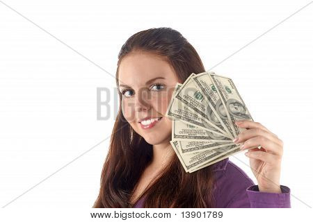 Portrait Of Young Businesswoman With Money (isolated)