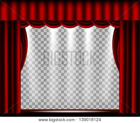 Theater stage with red curtain, spotlights lights and a transparent background. Vector illustration.