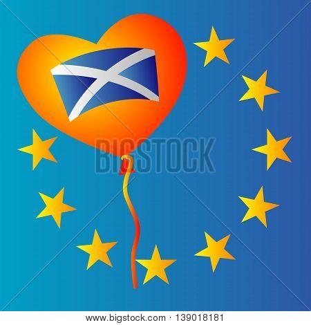 Scotland and EU. Scotland want to stay in European Union concept illustration