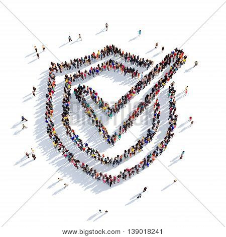 Large and creative group of people gathered together in the shape of a shield, a check mark. 3D illustration, isolated against a white background. 3D-rendering.
