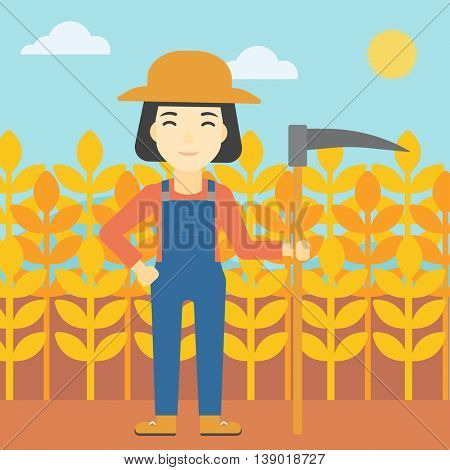 An asian female farmer holding a scythe. Young farmer standing on the background of wheat field. Vector flat design illustration. Square layout.