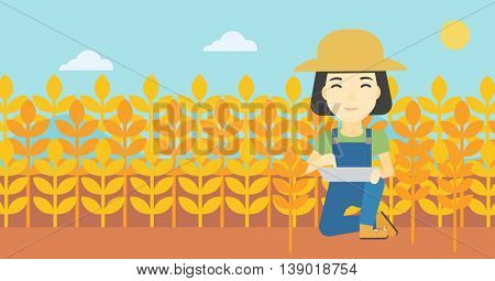 An asian female farmer checking plants on a wheat field. Farmer working on a digital tablet in a field. Vector flat design illustration. Horizontal layout.