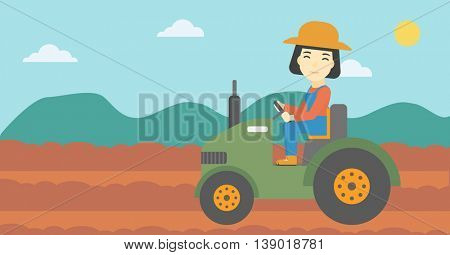 An asian female farmer driving a tractor on the background of plowed agricultural field. Farmer sitting on a tractor in the countryside. Horizontal layout.