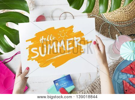 Summer Sale Shopping Credit Card Vacation Concept