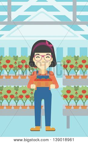An asian female farmer holding a box with tomatoes on the background of greenhouse. Young farmer collecting tomatoes in the greenhouse. Vector flat design illustration. Vertical layout.
