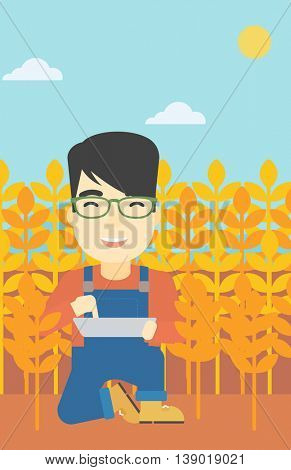 An asian farmer checking plants on a wheat field. Farmer working on a digital tablet in a field. Vector flat design illustration. Vertical layout.