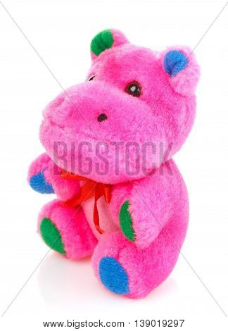 Children toy, Soft teddy pink hippo isolated on white background