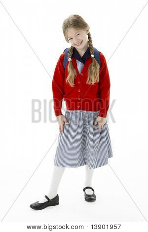 Studio Portrait of Smiling Girl Wearing School Bag