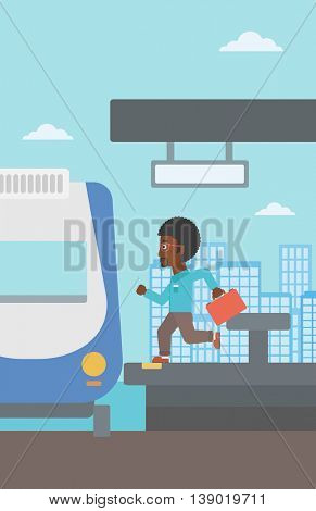 An african-american latecomer man with briefcase running along the platform to reach the train. Hipster man came too late at train station. Vector flat design illustration. Vertical layout.