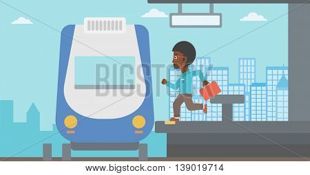 An african-american latecomer man with briefcase running along the platform to reach the train. Hipster man came too late at train station. Vector flat design illustration. Horizontal  layout.