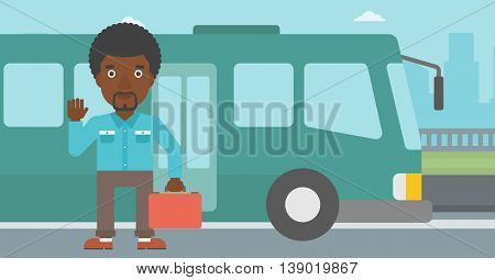 An african-american young man standing at the entrance door of a bus on a city background. Young man waving in front of a bus. Vector flat design illustration. Horizontal  layout.