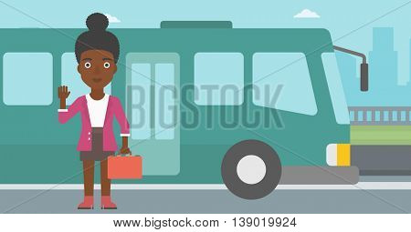 An african-american young woman with suitcase standing at the entrance door of a bus on a city background. Young woman waving in front of a bus. Vector flat design illustration. Horizontal  layout.