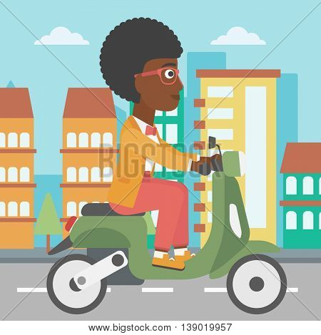 An african-american young woman riding a scooter on a city background. Young woman driving a scooter in the street. Vector flat design illustration. Square layout.