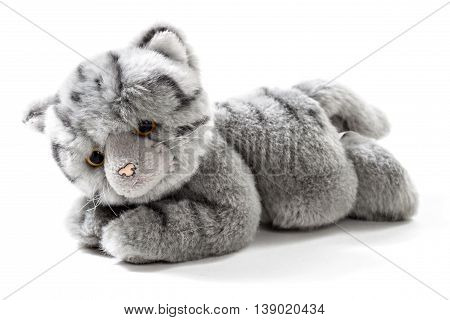 Stuffed animal grey cat isolated over white background