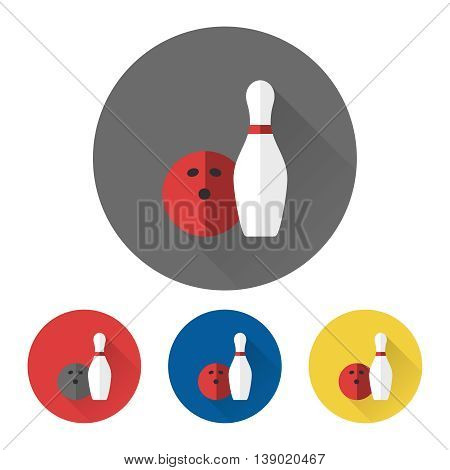 Bowling icons vector skittle and bowling ball