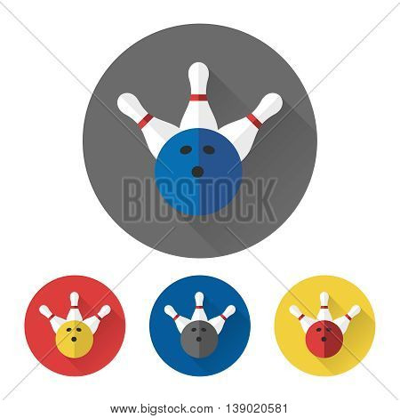 Flat skittles and bowling ball icons set. Bowling icons vector