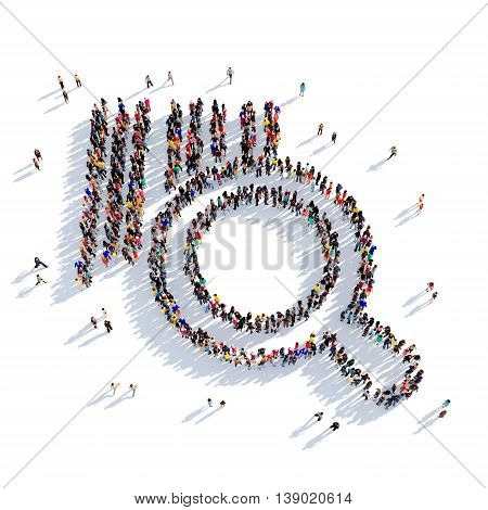 Large and creative group of people gathered together in the shape of a magnifying glass, barcode search. 3D illustration, isolated against a white background. 3D-rendering.