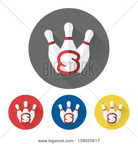Flat skittles icons set with letter S. Bowling icons vector