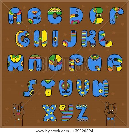 Artistic blue and yellow alphabet. Brown background. Cartoon hands. Vector Illustration