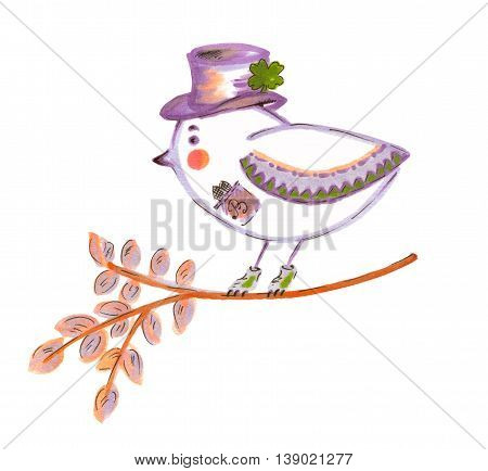 Cute Mr.Bird. Hand drawn graphics of funny birdy in the hat with green happy clover. Tree branch. For Saint Patrick holidays prints, designs.